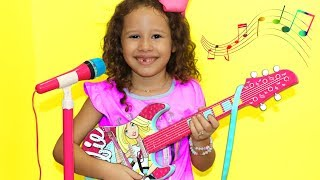 Download Valentina Plays with Disney Barbie Toy Guitar and Starts a Band Video