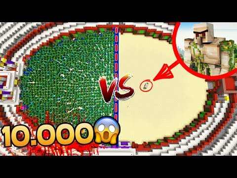 10.000 ZOMBIES VS 1 GOLEM MUTANTE 😱 MINECRAFT ROLEPLAY ARENA #2