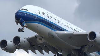Download Heavy Planes (incl 2x A380) Taking Off In Strong Winds At Schiphol Airport Video