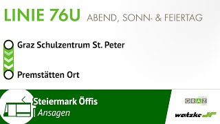 Download Stationsansagen Linie 76U (Graz) Schulzentrum St. Peter → Premstätten, Ort Video