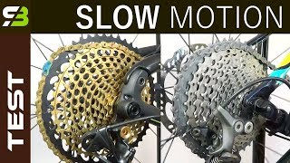 Download Shimano XTR / XT vs Sram XX1 Eagle - Shifting Performance In Slow Motion. Video