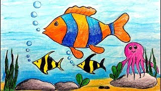 How To Draw A Scenery Of Sea Beach Draw Beach Scenery For Kids