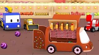 Download The Candy Shop - Learn with Tiny Trucks : bulldozer, crane, excavator | Cartoon for toddlers Video