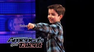 Download Grennan the Green Monster: 8-Year-Old Throws Knives at Dad - America's Got Talent 2014 Video