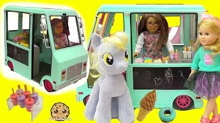 Download American Girl Doll Serves My Little Pony Derpy + Shopkins Food At Ice Cream Truck Video