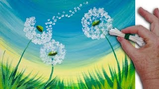 Download 🌻 Dandelion Cotton Swabs Painting Technique for BEGINNERS EASY Acrylic Painting Video