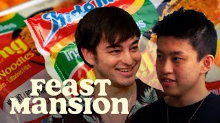 Download Joji and Rich Brian Have an Instant Noodle Battle | Feast Mansion Video