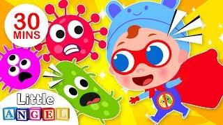 Download Super Baby John Defeats Germs | +More Nursery Rhymes & Kids Songs by Little Angel Video