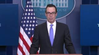 Download Steven Mnuchin Takes Question on Sean Spicer Press Briefing Conference Video