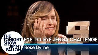Download Rose Byrne Takes on the Eye-to-Eye Jenga Challenge Video