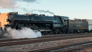Download 4K - Santa Fe 3751 Steam Locomotive Departing the 2017 Fullerton Railroad Days - 5/7/17 Video
