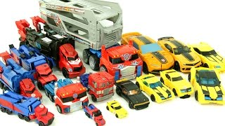 Download Transformers Autobot Optimus Prime Bumblebee 16 Cars Robot Car Toys 트랜스포머 범블비 옵티머스프라임 16대 장난감 변신 동영상 Video
