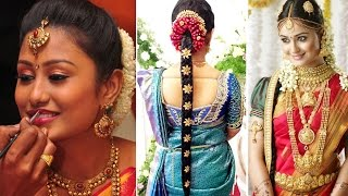 Download South Indian Bridal Saree Draping with Bridal Makeup and Bridal Hairstyle Tutorial | Marriage Makeup Video