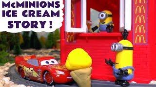 Download Minions McDonald's Drive Thru Ice Cream Prank with Cars McQueen & Thomas Toy Train Learn Colors TT4U Video