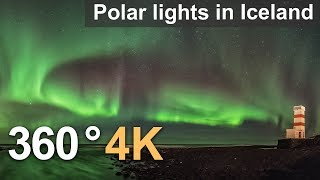Download 360°, Polar lights in Iceland. 4К video Video