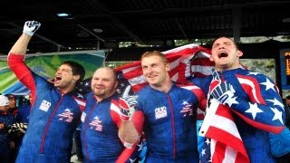 Download 2010 Men's Bobsled Gold Medal Moment: Driver Steve Holcomb and team bring home gold Video
