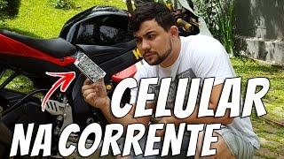 Download COLOCANDO UM CELULAR NA CORRENTE DA MOTO ! Video