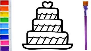 Download How to draw a birthday cake for children Warna Warni Belajar Menggambar dan Mewarnai untuk Anak #5 Video