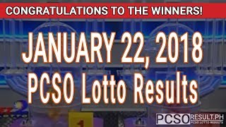 Download PCSO Lotto Results Today January 22, 2018 (6/55, 6/45, 4D, Swertres, STL & EZ2) Video