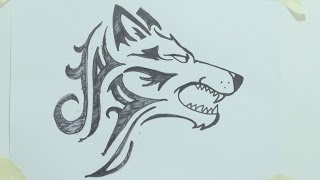 Download How to draw a tribal wolf head tattoo رسم ذئب #1 Video