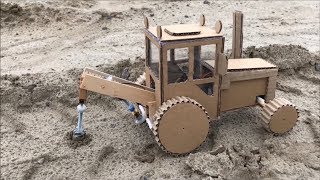 Download DIY tractor with mounted drilling rig - Cardboard toy Video