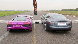 Download DRAG RACE! AUDI R8 V10 PLUS VS TESLA MODEL S P100D! Video