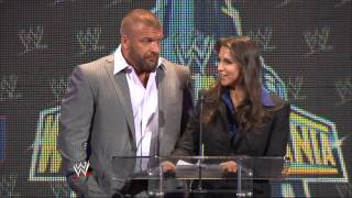 Download Paul ″Triple H″ Levesque & Stephanie McMahon appear at the WrestleMania 29 Press Conference Video
