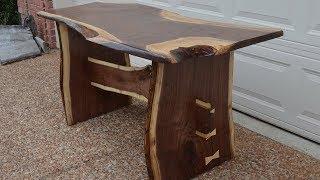 Download Rustic Walnut Slab Farm House Dining Table Video
