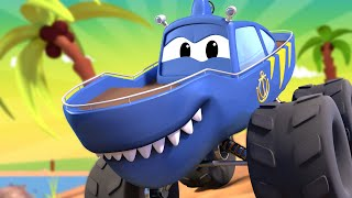 Download Monster Town MONSTER TRUCK SHARK TRUCK & the MONSTER TRUCK TOW TRUCK are Racing ! Car City Video Video