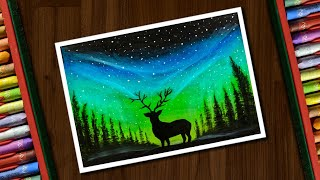 Download Aurora Night Drawing with Oil Pastels for beginners - step by step Video