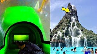 Download [4K] Volcano Bay - 2 Trap Doors Water Slides POV - Water Slides at the Top of the Volcano Video