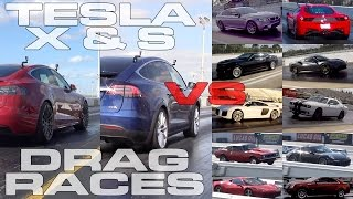 Download Tesla Model S and X take on Audi R8, Ferrari 458, 488, Hellcat, CTS-V, M5, Porsche Turbo S, Camaro Video
