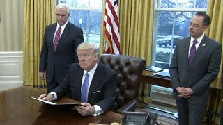 Download President Trump signs executive orders on trade, abortion, jobs Video