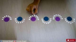 Download Easy Beginners Border Rangoli Design Tutorial Video