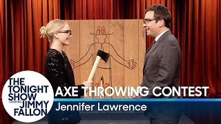 Download Jennifer Lawrence Challenges Jimmy to an Axe Throwing Contest Video