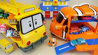 Download Robocar Poli bus and Nemo Dory carrier slide car toys play Video