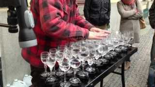 Download Street artist playing Hallelujah with crystal glasses Video