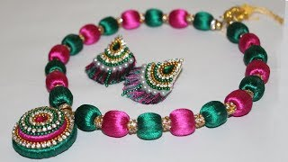 Download Silk Thread Beaded Necklace Making at HOME (DIY) | Jewellery Necklace Designs 2018 | New Craft Ideas Video