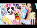 Download DIY EDIBLE Phone Cases Using Edible Paper, Cereal, Popcorn, Cotton Candy | EAT iPhone Cases! Video