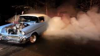 Download Supercharged Big Block 57 Chevy Bel Air Monster Burnout Video