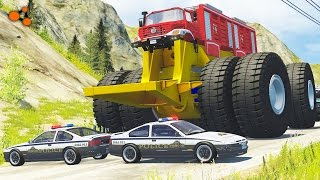 Download Beamng drive - Giants Machines Crushes Cars #2 (Giants Wheels crush cars) Video