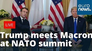 Download Donald Trump meets Emmanuel Macron at NATO summit to give press conference | LIVE Video