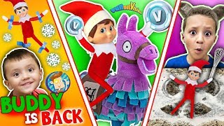 Download ELF on the SHELF FORTNITE! BUDDY is BACK in ACTION w/ Cookie Snow Angels (FUNnel Fam Xmas Vision) Video