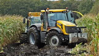 Download John Deere 6850 | JCB Fastrac 8250 Vario | Harvesting mais in the mud | Kroes | NL. Video