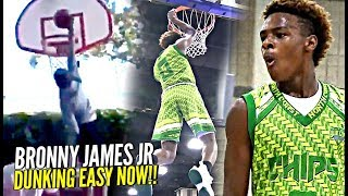 Download Bronny James Jr DUNKING EASY NOW! 1st Dunk at Crossroads! + FULL 7th Grade Highlights! Video