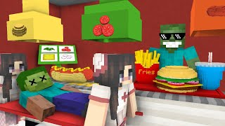 Download Monster School: WORK AT BURGER & HOT DOG PLACE! - Minecraft Animation Video