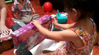 Download 5 Year Old Girl Opening up Birthday Presents (child kid) Video