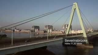 Download Köln von oben: Severinsbrücke, Oberlandesgericht, Volksgarten und Güterbahnhof Eifeltor Video