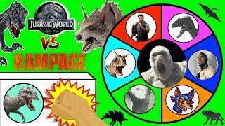 Download JURASSIC WORLD FALLEN KINGDOM vs RAMPAGE Movie Slime Wheel Game | Surprise Dinosaur Toys Video Video