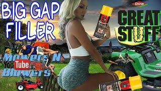 Download FIXING A RIDING MOWER LAWN TRACTOR SEVERELY DRY ROTTED CRACKED TIRE GREAT STUFF FOAM BIG GAP FILLER Video